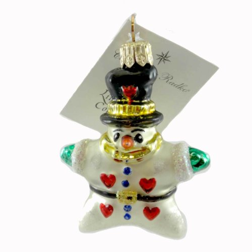 Christopher Radko HEARTS FOR YOU GEM Blown Glass Ornament Snowman Star