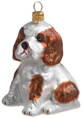 Ornaments To Remember Cav. King Char. Spaniel (White/Brown) Hand-Blown Glass Ornament