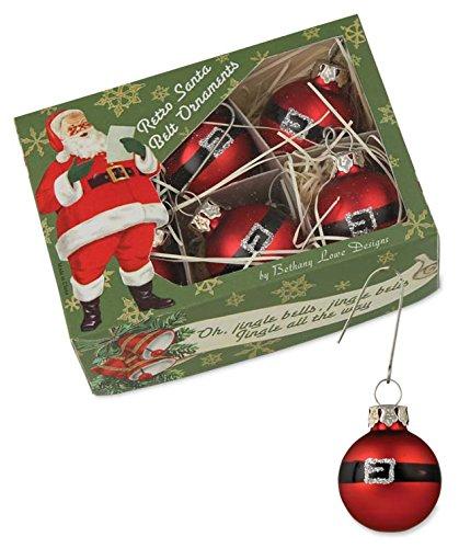 Bethany Lowe Mini Santa Belt Ornaments – Set of 6 Mini Ornaments
