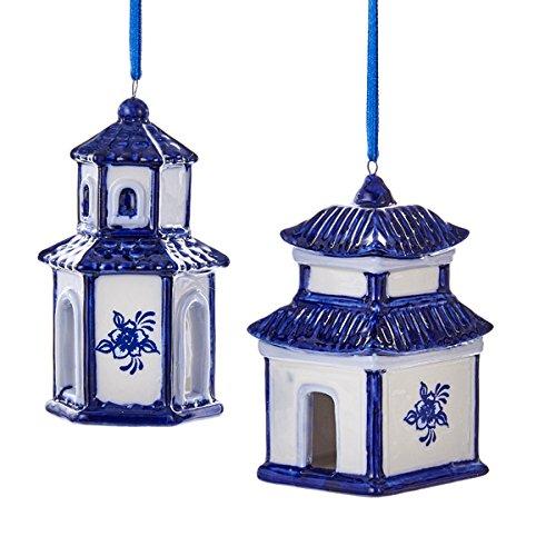 Kurt Adler 3 5″ Porcln Delft Blue House Ornament 2/a