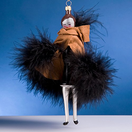 De Carlini Lady in Brown Shawl with Black Feathers Italian Mouthblown Glass Christmas Ornament