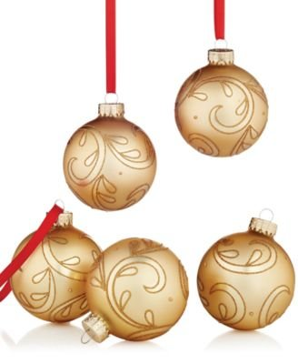 Holiday Lane 2.6in Gold Filigree Glass Ornaments [Set of 5]