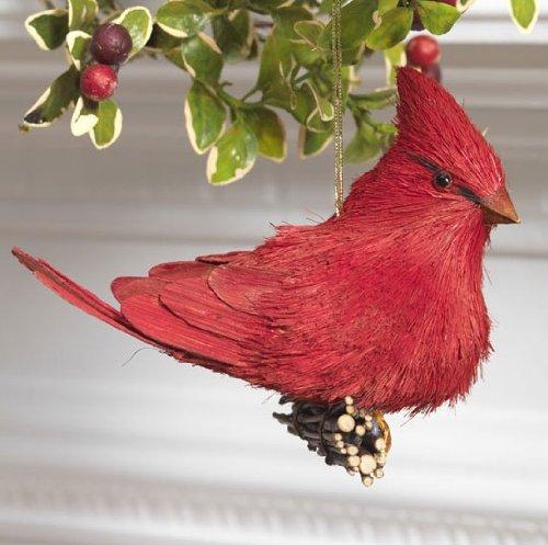 Red Sisal Cardinal Bird Christmas Tree Ornament, 5.5 Inches