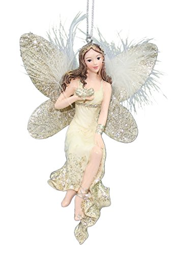 Kurt Adler Platinum & Ivory Fairy Ornaments