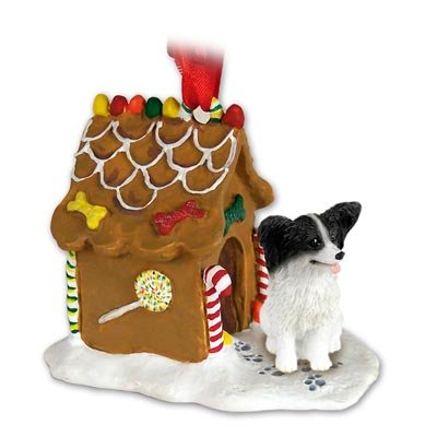 PAPILLON Dog BLACK and WHITE NEW Resin GINGERBREAD HOUSE Christmas Ornament 47B