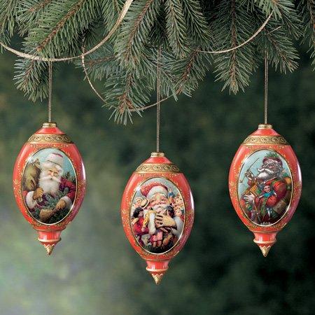 MILLENIAL SANTAS Old World Santas Ornament Set Heirloon Porcelain Set of 3