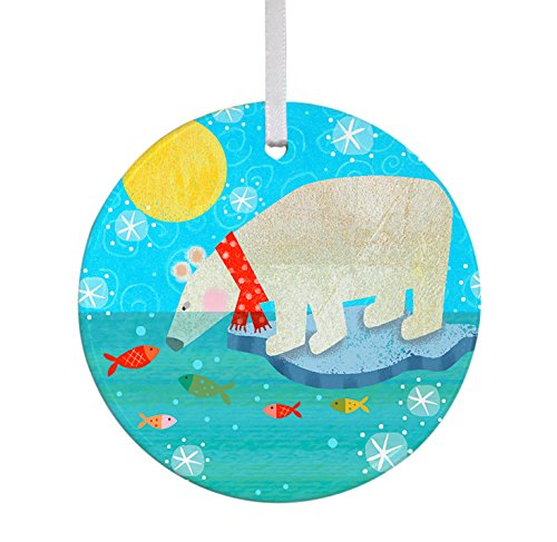 Oopsy Daisy Keepsake Ornament, Polar Bear/Fish Saffor, 3″x 3″