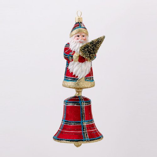 8″ David Strand Designs Glass Santa Bell Stewart Plaid Christmas Ornament