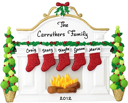 Mantle Fireplace 5 Table Display Personalized Christmas Tree Ornament