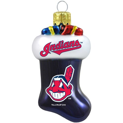 MLB Cleveland Indians Blown Glass Stocking Ornament