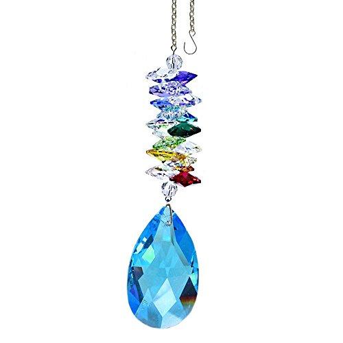 Swarovski Crystal 5″ Tall Medium Sapphire 2″ Almond Prism & Multicolored Cascade Crystal Ornament, Rainbow Maker, Sun Catcher, Versatile, Striking Decorative Element Adorned with Swarovski Crystals with Certificate