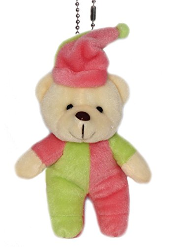 Lucore 6″ Sleepy Clown Teddy Bear Plush Stuffed Animal Keychain – Hanging Toy Doll, Lucky Charm & Ornament (Lime-Pink)