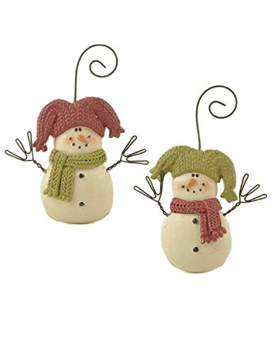 Blossom Bucket Snowmen with Red Green Joker Hats Ornaments Christmas Decor (Set of 2), 2-3/4″ High