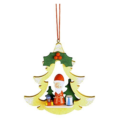 10-0462 – Christian Ulbricht Ornament – Santa in Yellow Tree – 3.75H x 3.5W x 1D by Christian Ulbricht