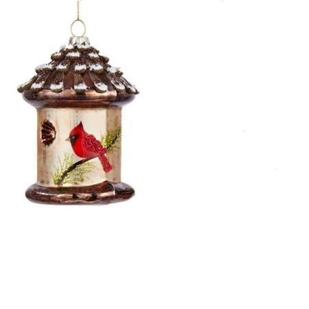 5 Noble Gems Country Cabin Glass Cardinal Bird House Christmas Ornament WLM