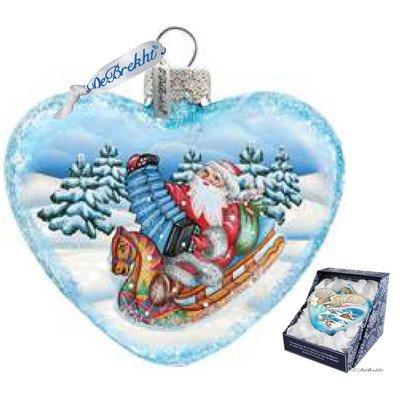 G. Debrekht Love Heart Accordion Santa Glass Ornament