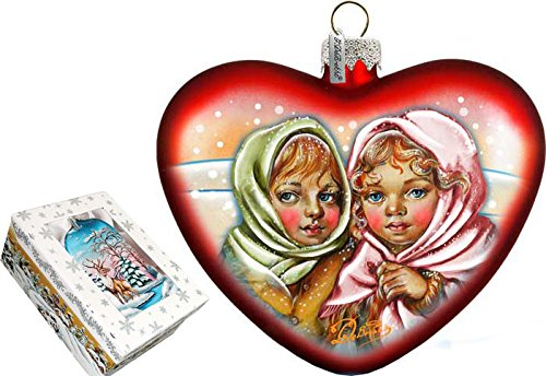G. Debrekht Remembering Friends Heart Glass Ornament
