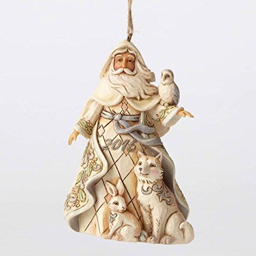 2016 Jim Shore Heartwood Creek White Woodland Santa Christmas Ornament 4053701