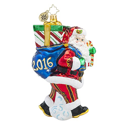 Christopher Radko 2016 Perfect Timing Santa Glass Christmas Ornament – 5″h.