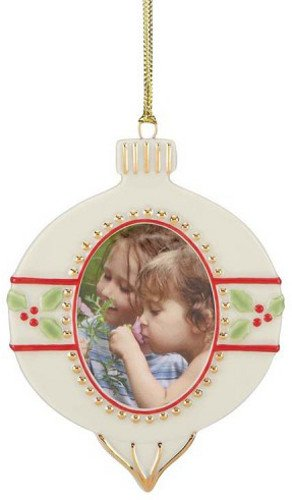 Lenox Porcelain Ornament Shaped Photo Frame Ornament