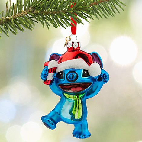 Disney 2015 Santa Stitch Glass Sketchbook Ornament Christmas Holiday Tree