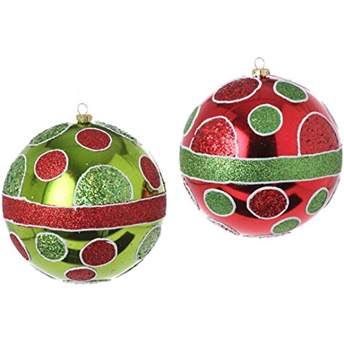 RAZ Imports – 5″ Dot Ball Ornaments – Set of 2