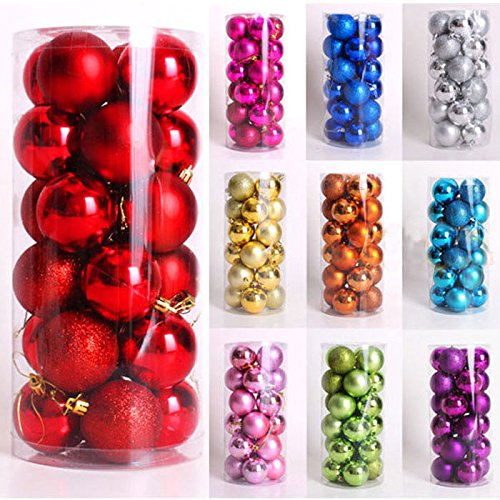CYNDIE Hot Sale New 24pcs 4cm Christmas Balls Baubles Xmas Tree Decorations Party Wedding Ornament Best Price Gift Red