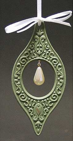 """Wedgwood Jasperware Millenium Gems Ornament """"Wisdom"""" Sage Green Jasper with Pearl"""