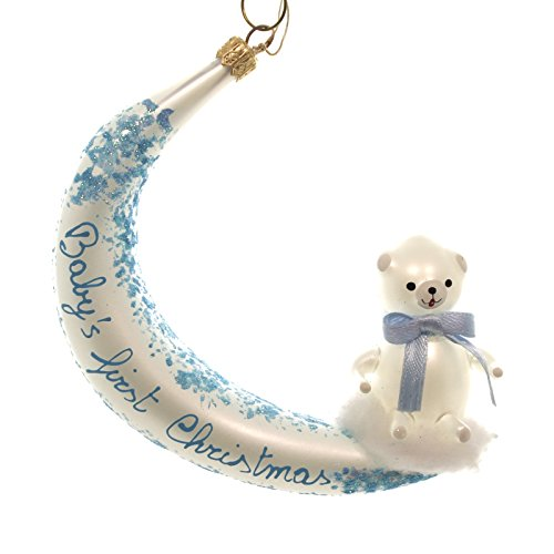 De Carlini BEAR ON MOON Glass Baby First Christmas Italian Ornament BA5623 BLUE
