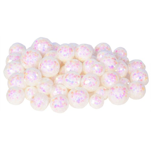 72ct Iridescent White Sequin and Glitter Christmas Ball Decorations 0.8″ – 1.25″