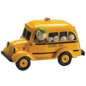 Snowman in School Bus Christmas Ornament