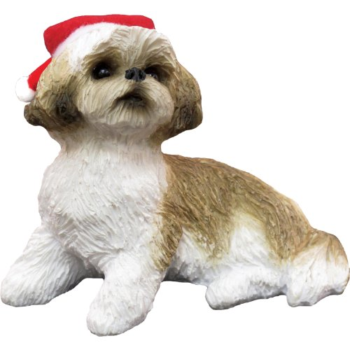 Sandicast Gold and White Shih Tzu with Santa Hat Christmas Ornament