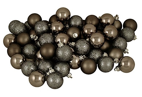 Vickerman 96 Count Pewter Shatterproof 4-Finish Christmas Ball Ornaments, 1.5″