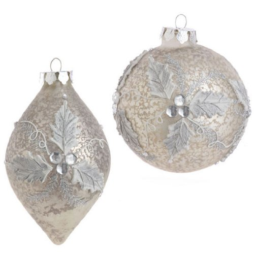 RAZ Imports – Antiqued Glass Holly Ornaments