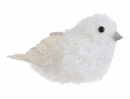 5″ Winter Frost Iridescent Snow White Glitter Bird Christmas Tree Ornament