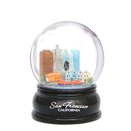 San Francisco Snow Globe Skyline, Trolley and Golden Gate Bridge, 3.5 Inches Tall