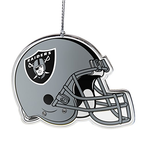 NFL Oakland Raiders Flat Metal Helmet Ornament, Silver, 3″ Width and 2.25″ Height