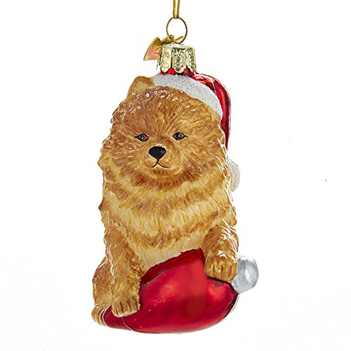 Kurt Adler Glass Noble Gems Poodle on Red C7 Bulb Christmas Ornament