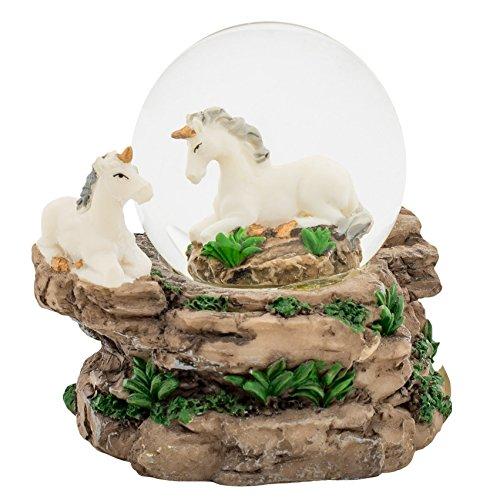 Pretty Unicorns 3 x 3 Miniature Resin Stone 45MM Water Globe Table Top Figurine
