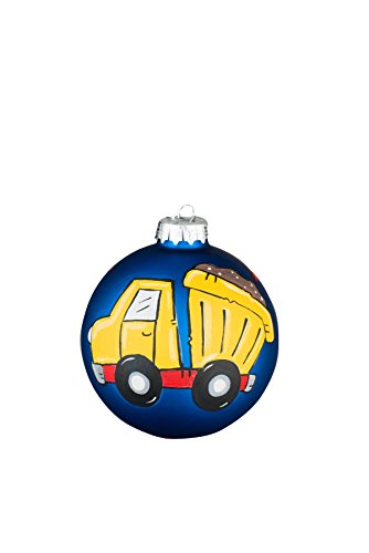 Glory Haus Dump Truck Navy Glass Ball Ornament, 4″