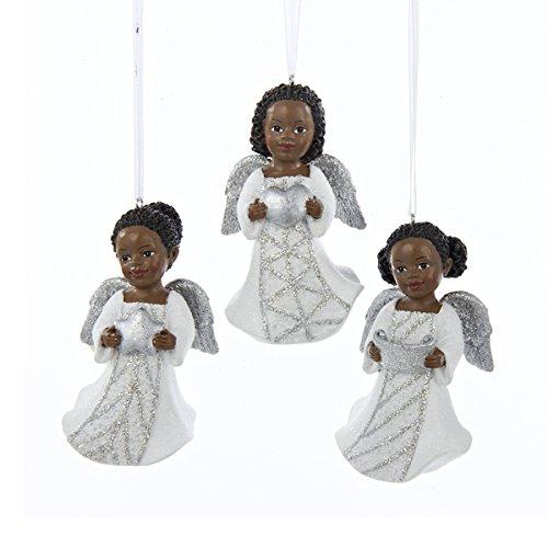 Kurt Adler 3.5″ Resin Silver & White African American Cupid Ornament 3/asstd