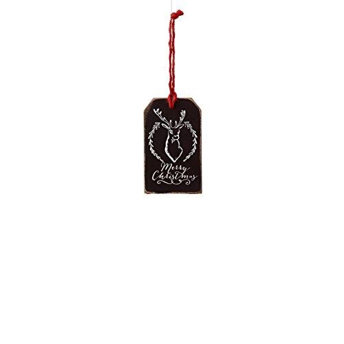 Sage & Co. XAO19943BK Chalkboard Deer Head Tag Ornament (24 Pack)