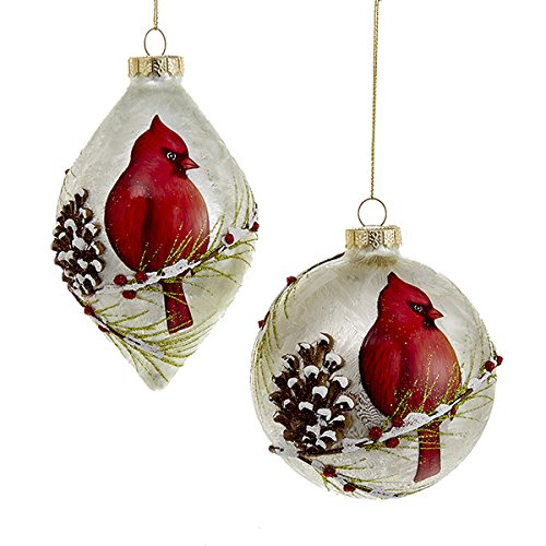 Kurt Adler 100mm Gls Cardinal Ball/finial Ornaments