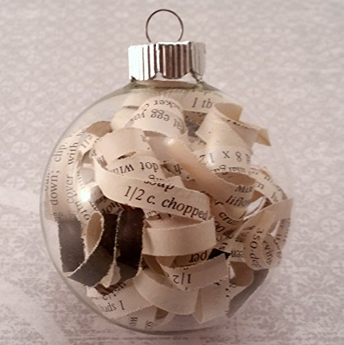 Glass Recipe Ornament from Vintage Cookbook