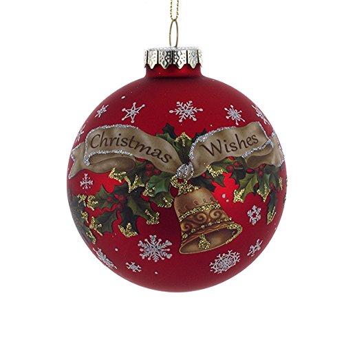 Kurt Adler 90mm Glass Christmas Wishes Ball Ornament