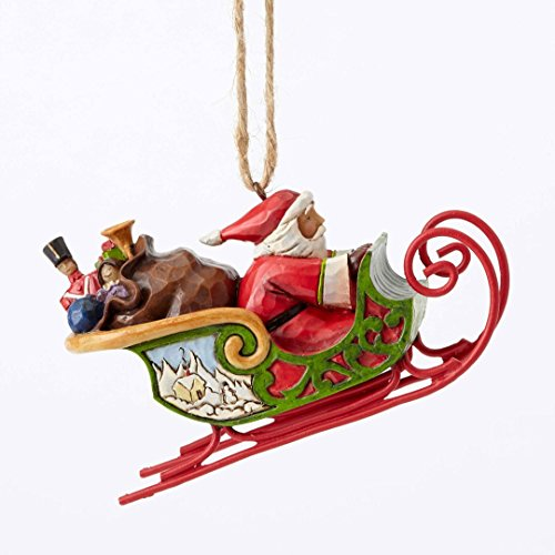 Jim Shore Heartwood Creek, Santa in Sleigh Ornament