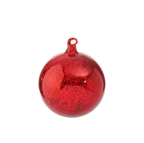 RAZ Imports – 4″ Antiqued Red Ball Ornament