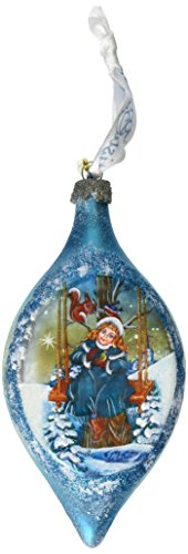G. Debrekht 3-1/2 Inch Winter Girl Glass Egg Ornament