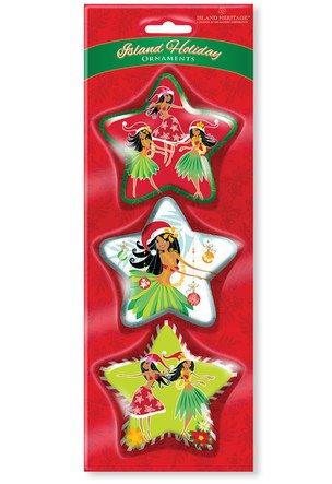 Glossy Art Decorated Ornaments 3PK ISLAND HOLIDAY HONEYS