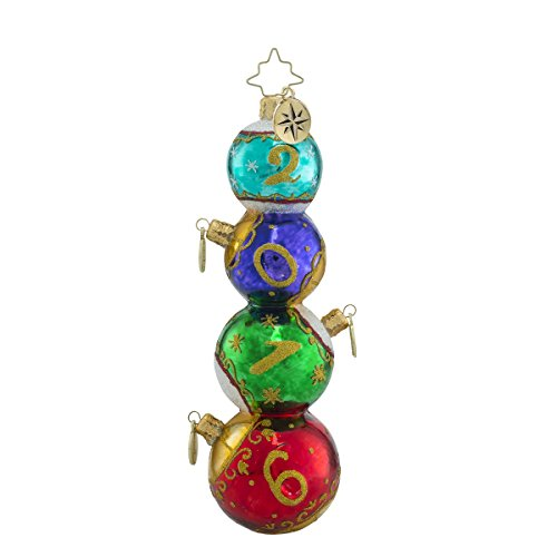 Christopher Radko Stacked Sixteen Dated 2016 Christmas Ball Christmas Ornament